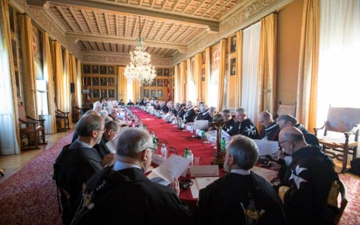 Knights of Malta take part in the secret ballot for a new Grand Master at the order's Villa Magistrale in Rome