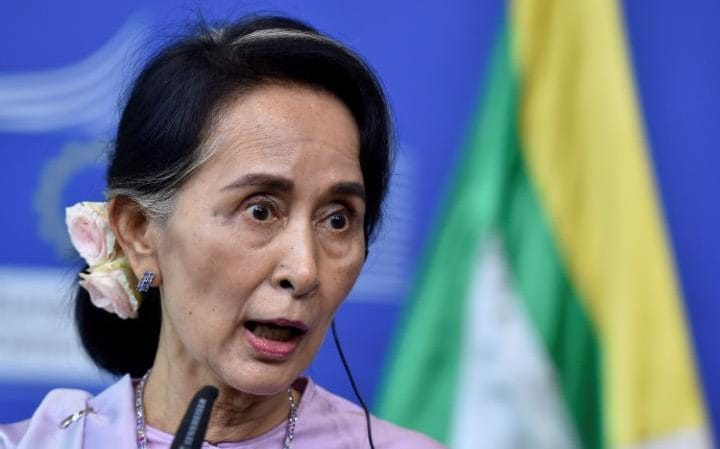 Aung San Suu Kyi in Brussels, Belgium