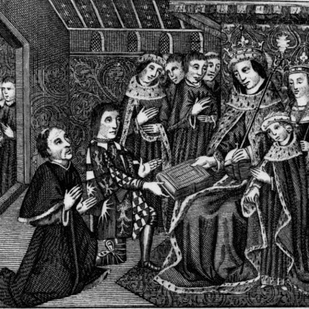 Picture extract taken from a small folio manuscript from the Archbishop of Canterbury's Library at Lambeth, showing Anthony Woodville, Earl of Rivers, and William Caxton (left), his printer, presenting the book, which was printed in 1477, to King Edward IV and the Queen and Prince Edward of Westminster (later Edward V)