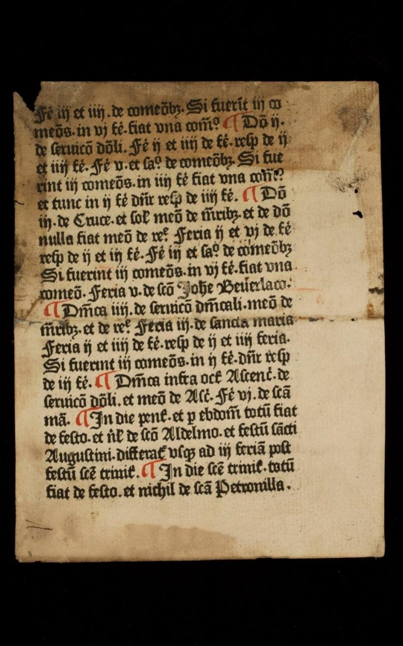 one of two pages of a 15th century printed text by English printer William Caxton which have been unearthed at the university