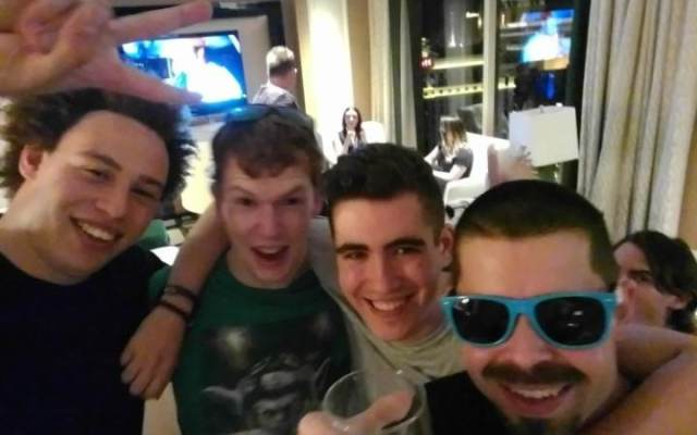 Marcus Hutchins, far left, pictured with friends | Hacker Nucleus