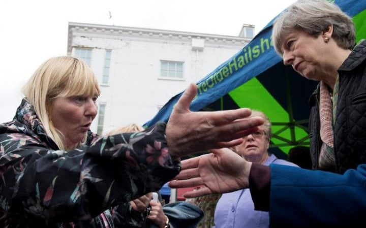 Theresa May is challenged on a visit to Abingdon