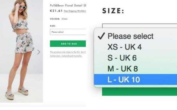 Asos under fire for listing a size 10 as 'large'