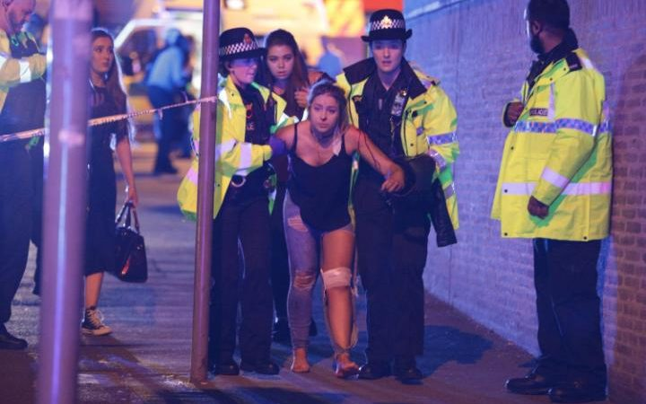 Injured concert-goers outside Manchester Arena