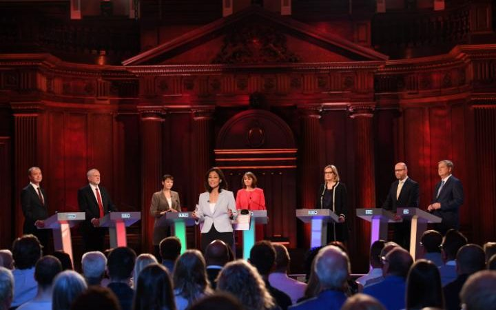 Tim Farron, Jeremy Corbyn, Caroline Lucas, Leanne Wood, Amber Rudd, Paul Nuttall and Angus Robertson attend the BBC election debate