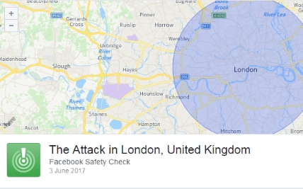 Facebook's Safety Check page for the London attacks