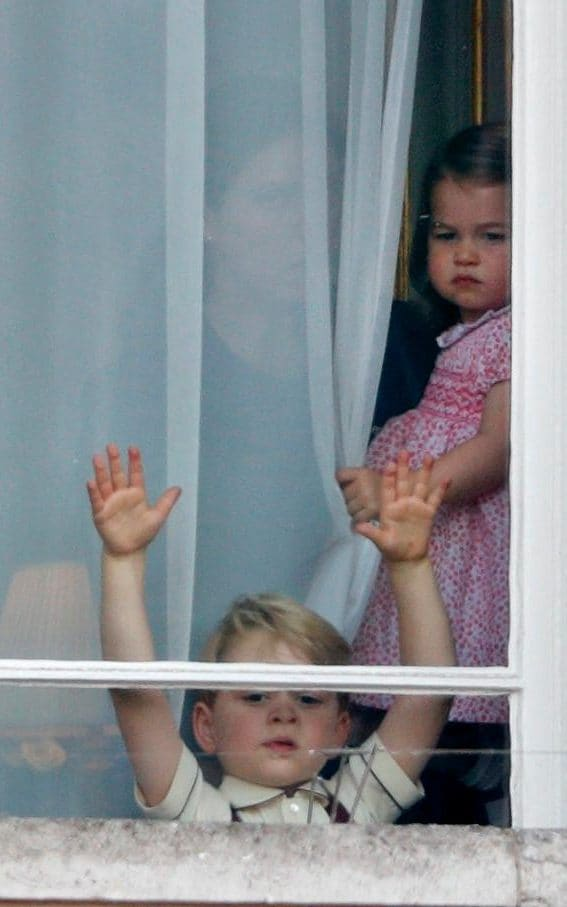 Prince George and Princess Charlotte await Trooping the Colour