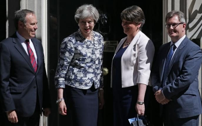 Nigel Dodds, Theresa May, Arlene Foster and Sir Jeffrey Donaldson