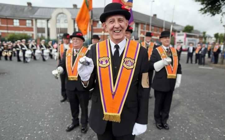 Orangemen lead the main parade in Belfast in 2016