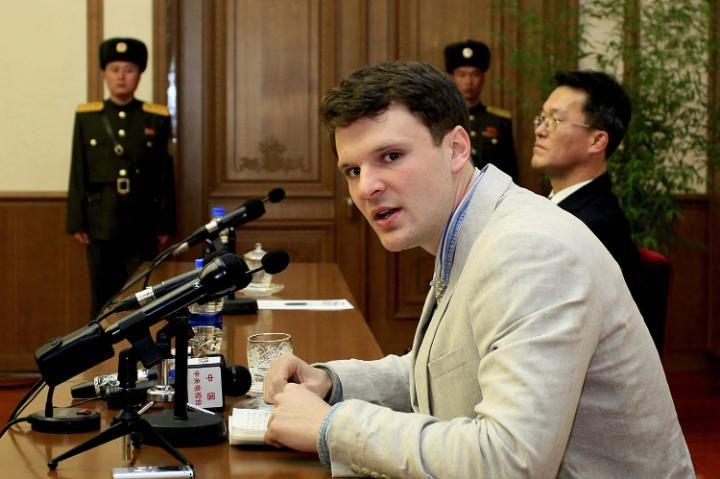 American student Otto Warmbier speaks in Pyongyang, North Korea in 2016