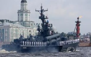 The Chuvashia missile boat is seen on Neva river