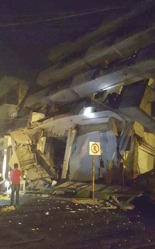 a collapsed building in Matias Romero, Oaxaca, Mexico