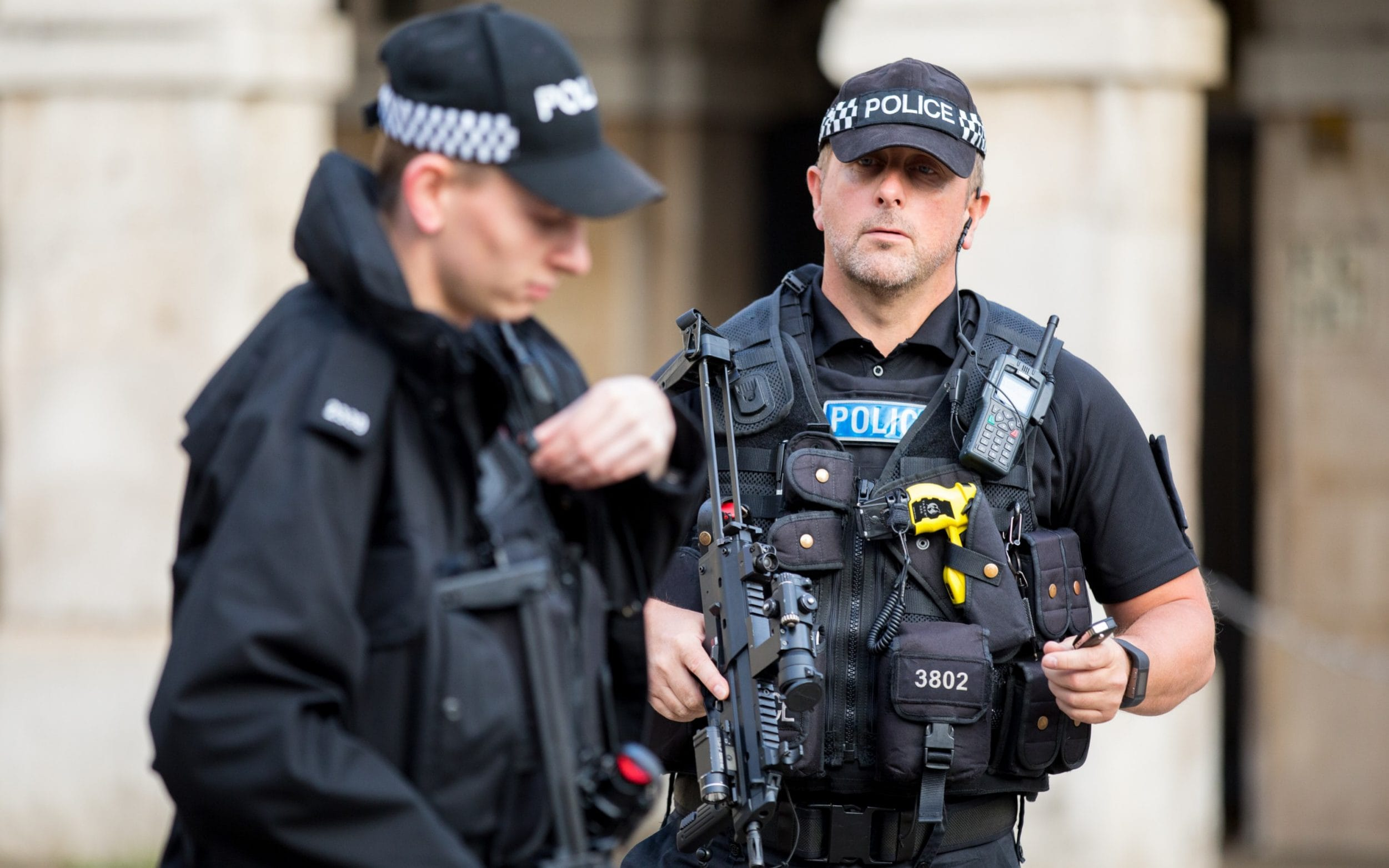 Armed police in Westminster