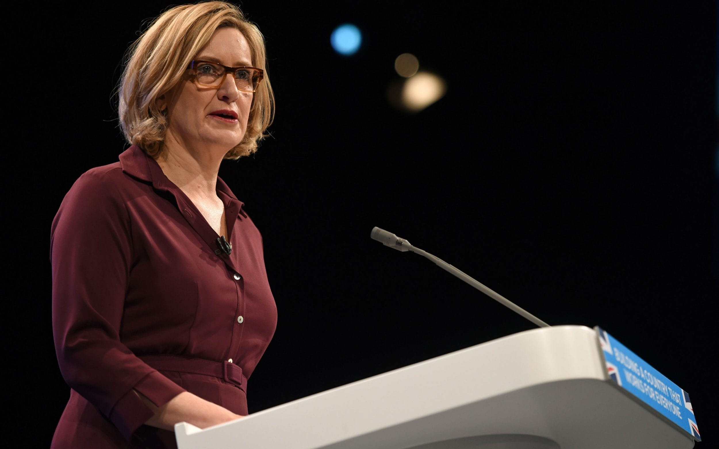 Amber Rudd delivers her speech on the third day of the Conservative Party annual conference
