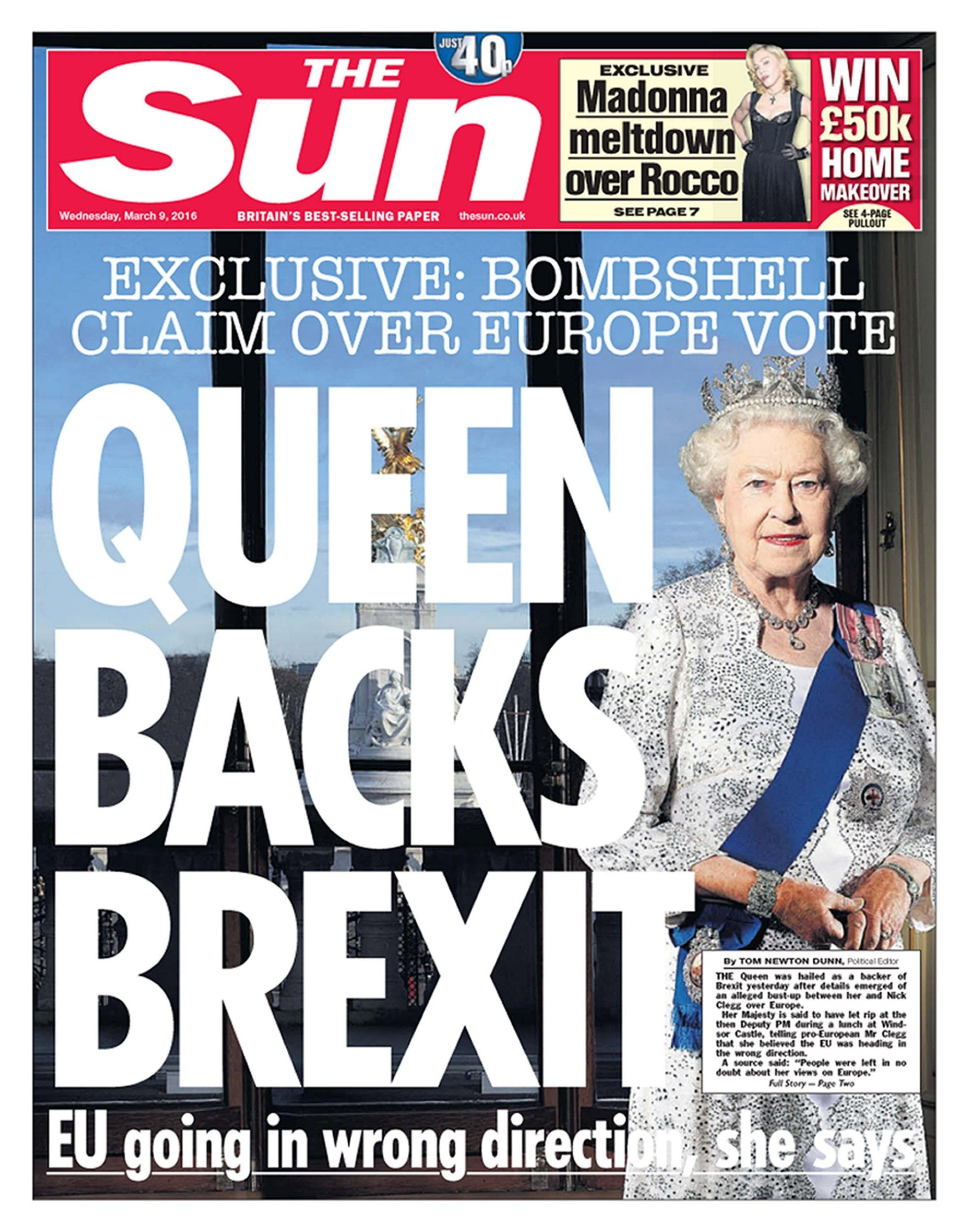 The front page of The Sun newspaper in March last year