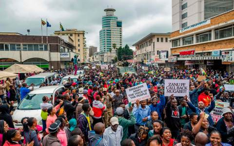 Protesters demanding the resignation of Robert Mugabwe in Harare