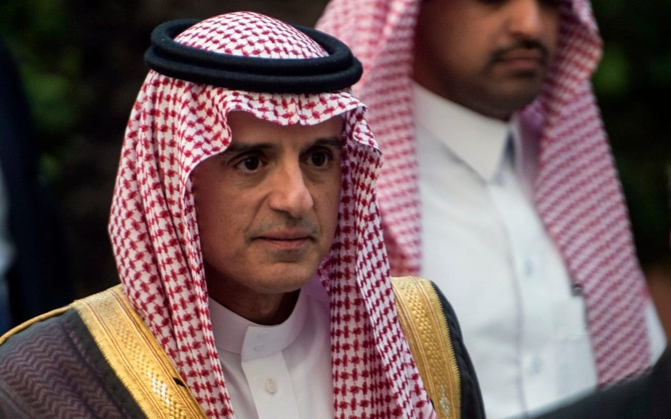Saudi Foreign Minister Adel al-Jubeir arrives for a meeting at the Arab League headquarters in the Egyptian capital
