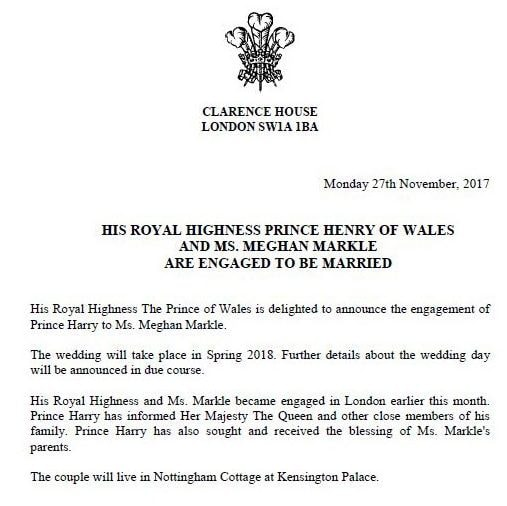 Clarence House published this official announcement of the engagement