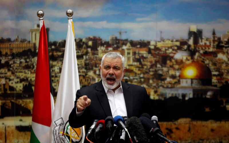 Ismail Haniyeh, the Hamas leader, during a speech in Gaza