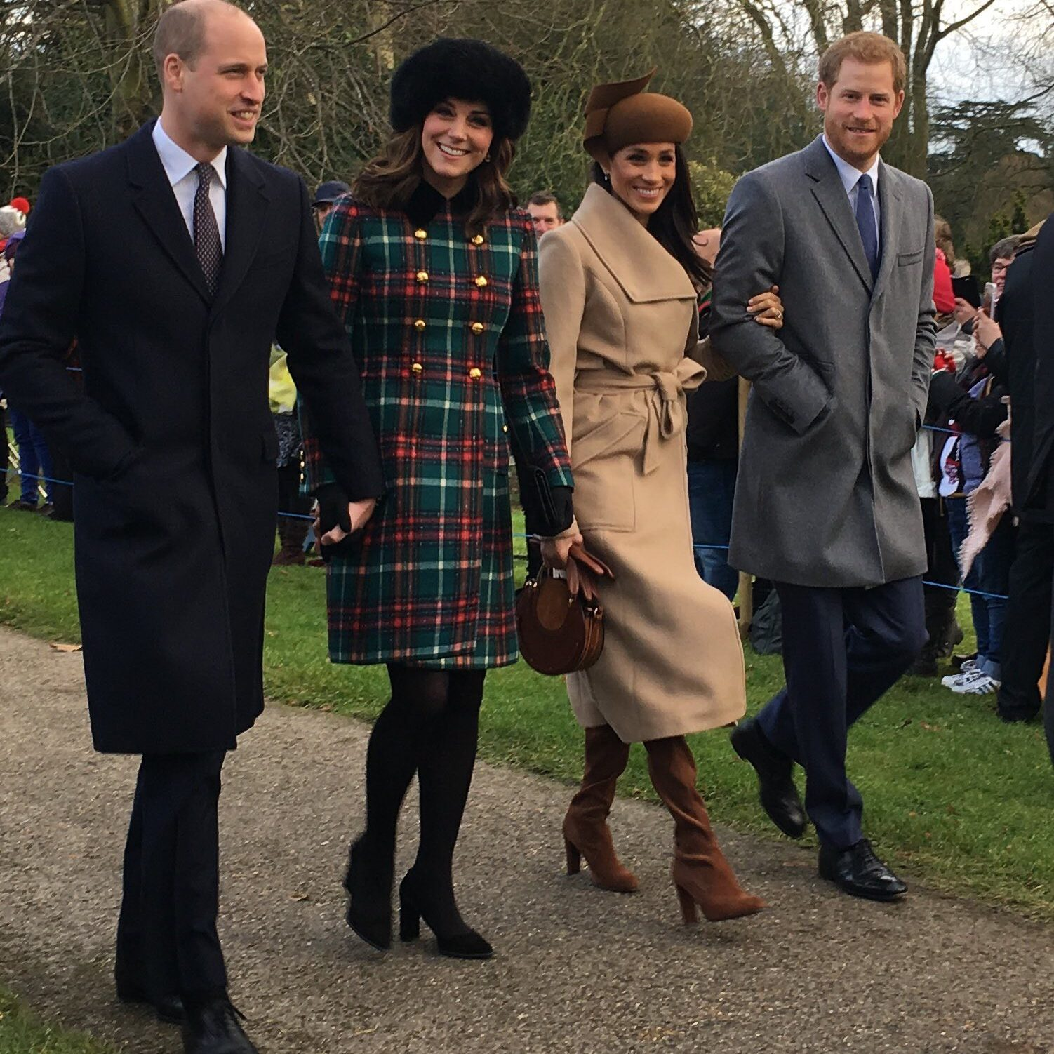 The Duke and Duchess of Cambridge arrive at the service alongside Meghan Markle and Prince Harry