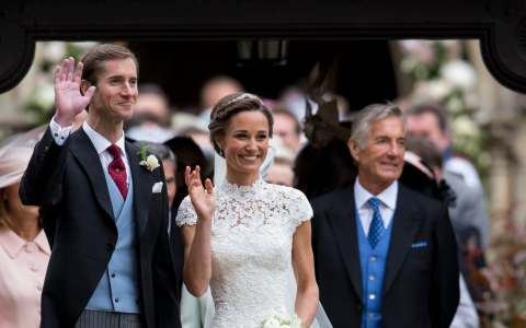 David Matthews, right, on the wedding day of his son James and Pippa Middleton. He is understood to deny the allegations
