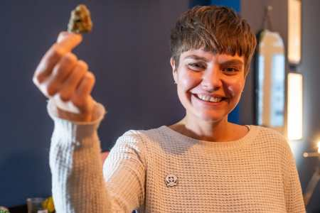 Mar0086661 Carly Meyer, the first person in the UK to be prescribed medical marijuana to ease her pain.
