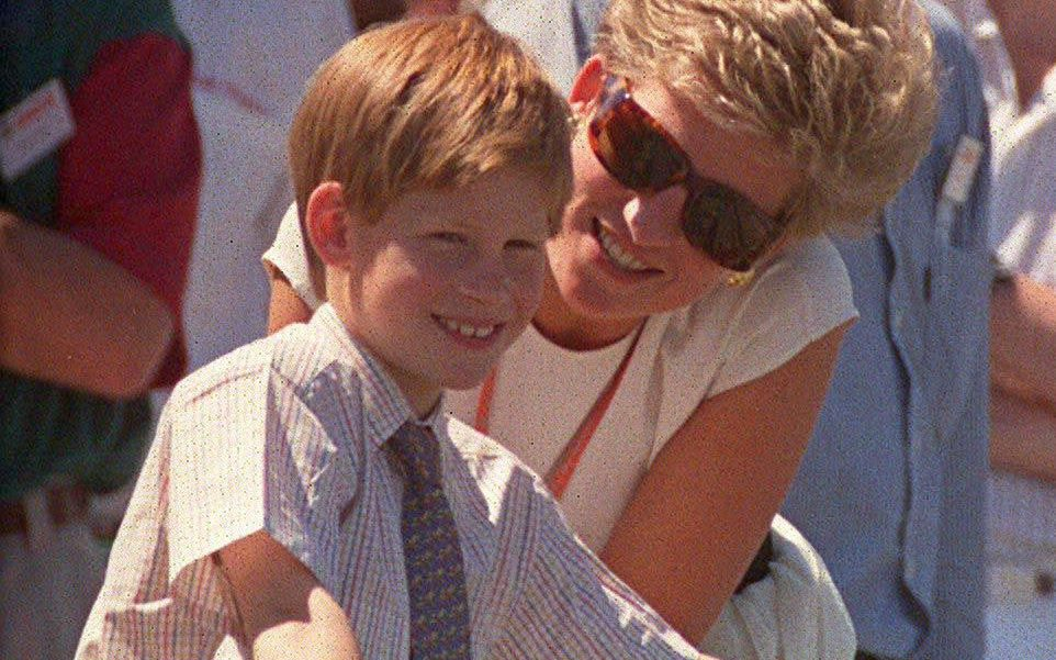 Princess Diana and Prince Harry at the British Grand Prix at Silverstone in 1994