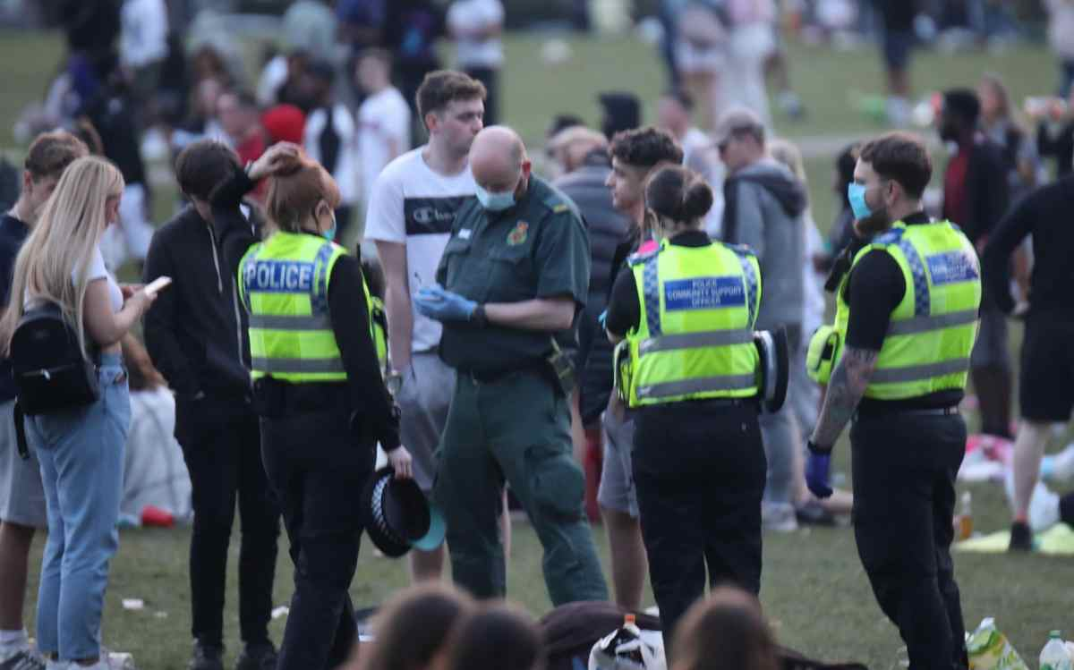 Police and paramedics at Hyde Park in Leeds