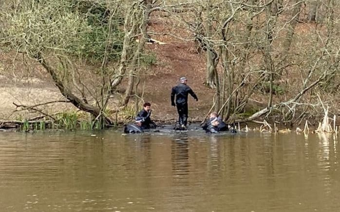 Police divers in Epping Forest on Good Friday