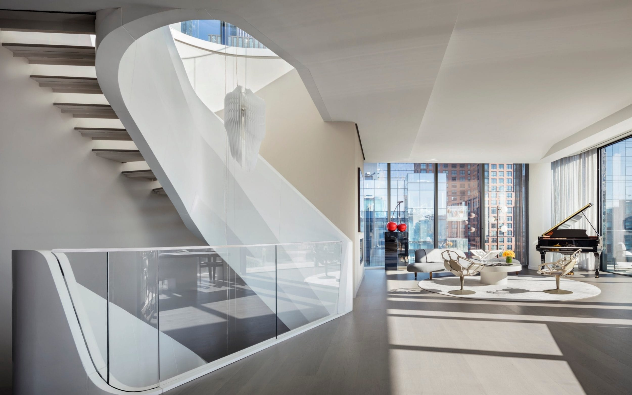 The Statement Staircase The Newest Design Trend In The World S | White And Glass Staircase | Before And After | American White Oak | Luxurious | High End Glass | White Handrail Treads