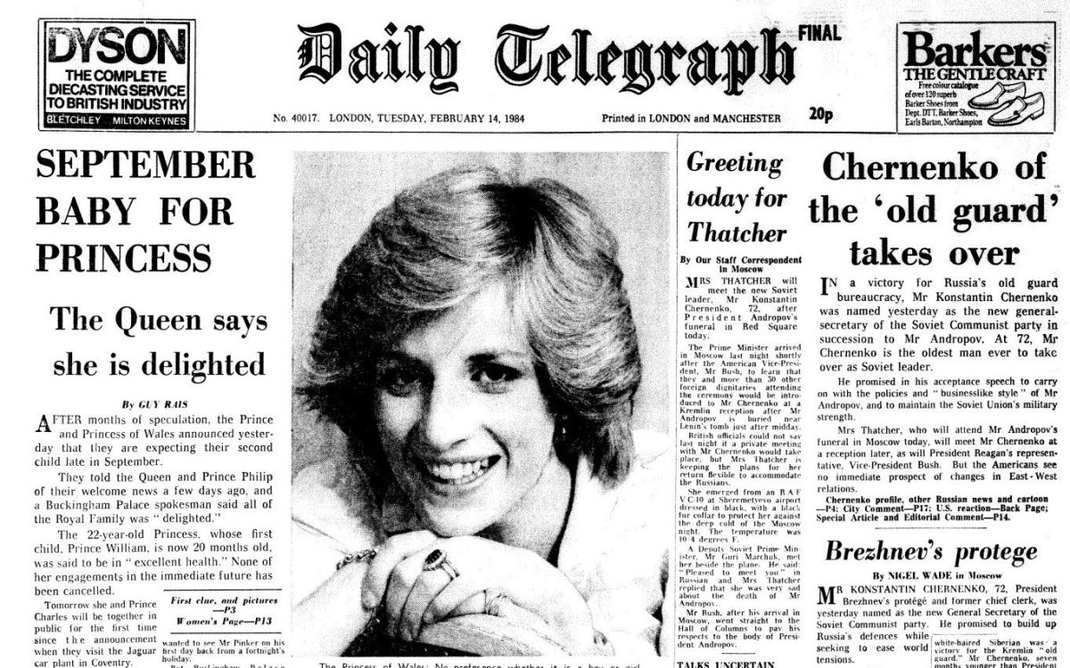 The Daily Telegraph front page dated Tuesday, February 14, 1984, with the announcement that Diana, Princess of Wales, was expecting her second child