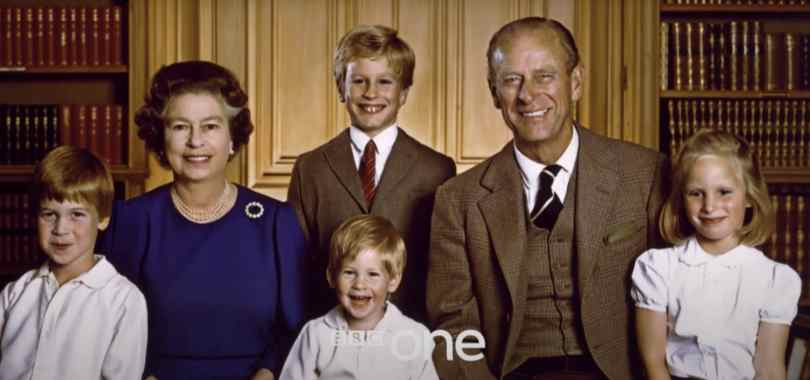 The Queen and late Prince Philip picture in the programme with their grandchildren