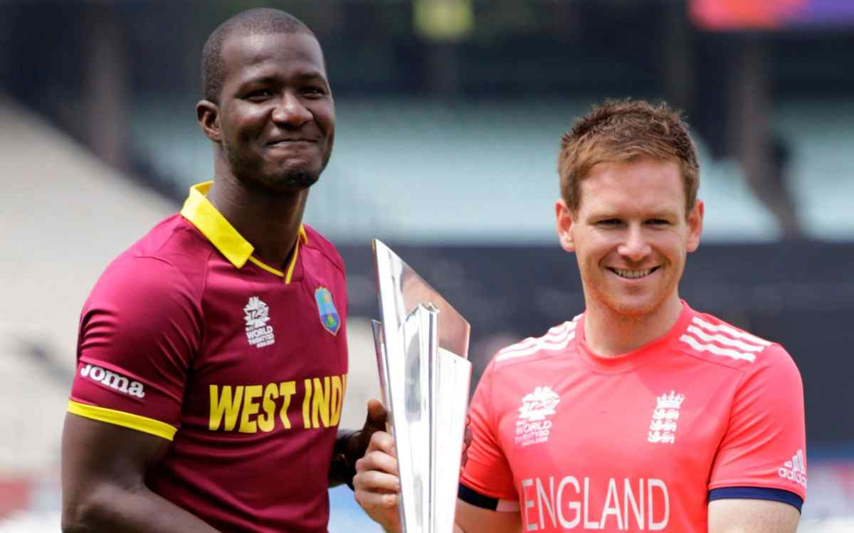 West Indies' captain Darren Sammy, left, and England's captain Eoin Morgan ahead of the T20 World Cup 2016 final