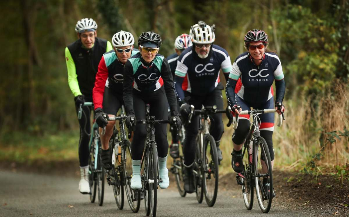 Cyclists 'of a certain age' riding through the Hertfordshire countryside near Brookmans Park, Herts. Journalist Jonny Cooper joins them in some of the pictures