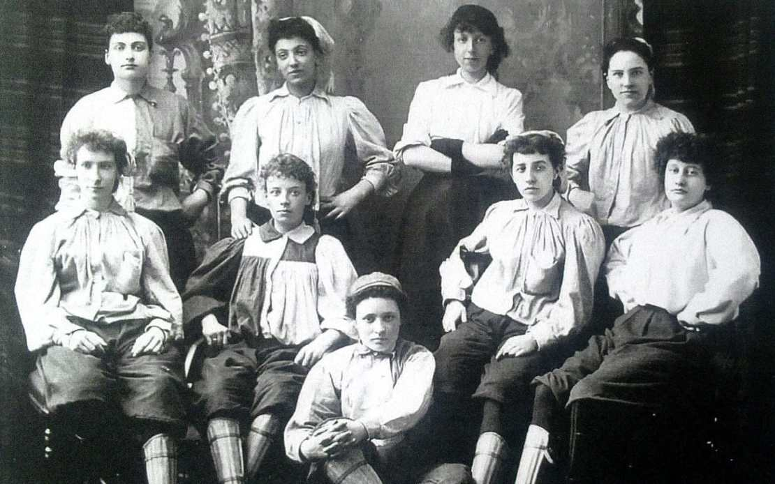 Emma Clarke (back row, second from left) who became Britains first ever black women's football player in the 1890's