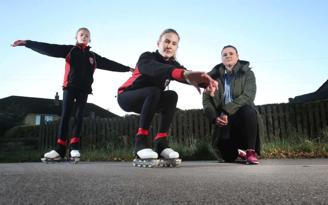 Skaters Stevie (14) and Jaime (9) of Huddersfield, West Yorkshire, pictured with their mother Katrina Cliffe