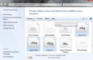 Windows appearance and personalisation of fonts