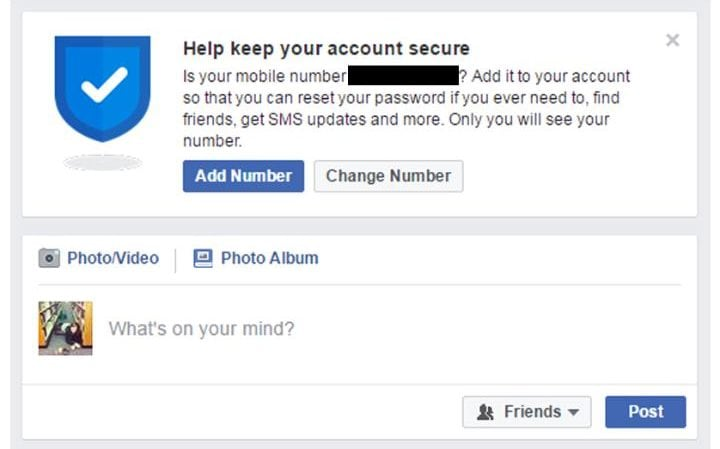 Facebook number verification request
