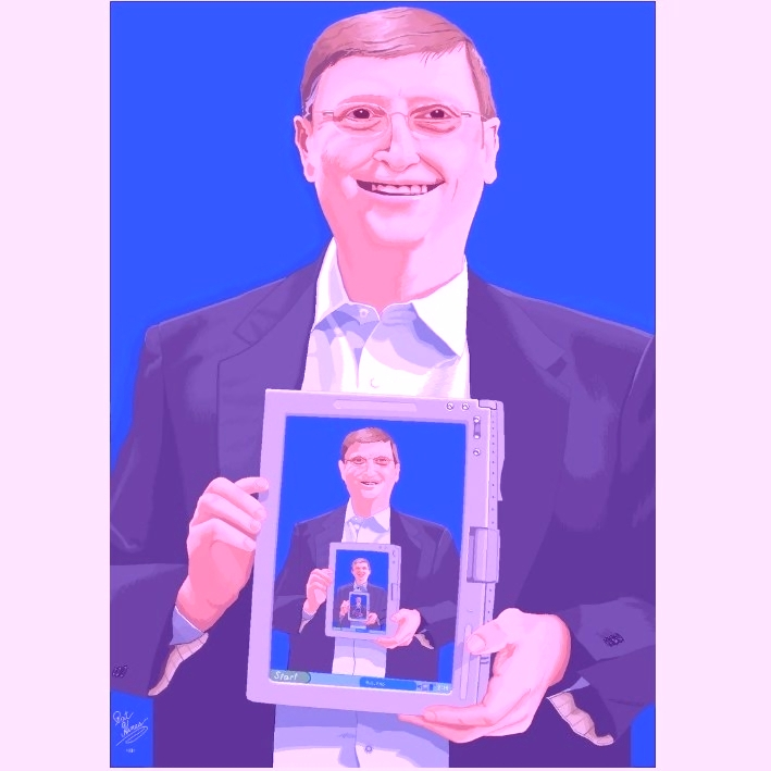 Thisdrawing from Hines showsMicrosoft co-founder Bill Gates holding the same picture of himself on a tablet screen. Meta. | The best art made using Microsoft Paint - Technology Intelligence The best art made using Microsoft Paint