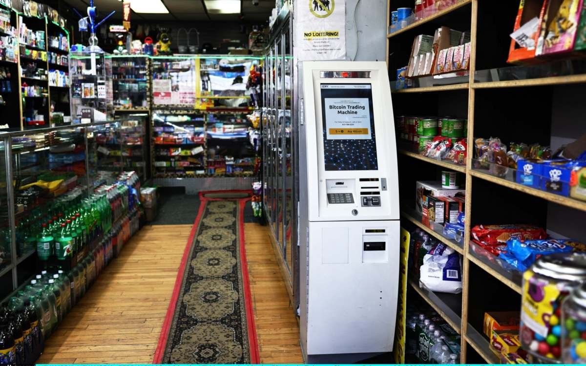 A bitcoin ATM is seen inside the Big Apple Tobacco Shop on February 08, 2021 in New York City.