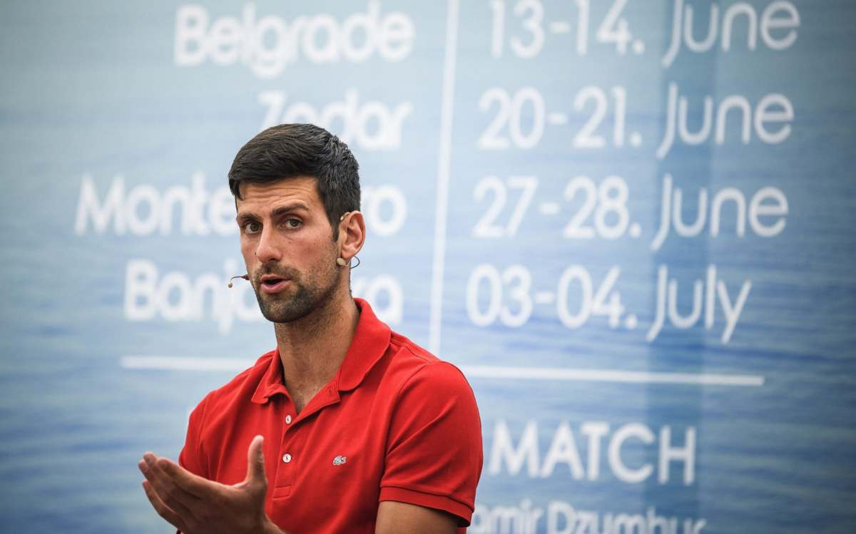 Serbian tennis player Novak Djokovic (ATP Number 1) gives a press conference on the upcoming Adria Tour tennis tournament in Belgrade on May 25, 2020. - Djokovic will bring together international tennis stars Dominic Thiem (ATP Number 3), Alexander Zverev (ATP Number 7) and Grigor Dimitrov (ATP Number 19) to Belgrade in early June for the first in a series of humanitarian tournaments that he will organized in the Balkan
