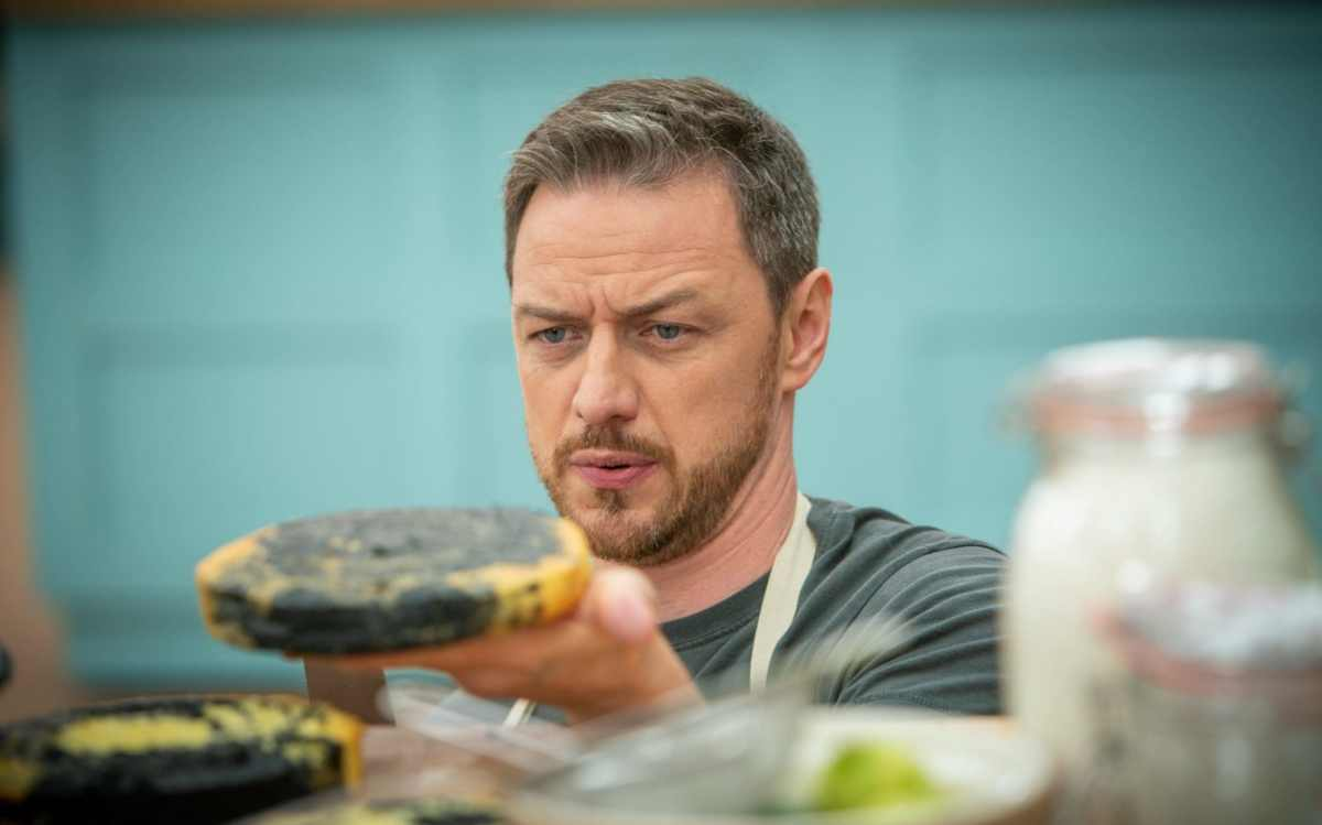 James McAvoy channels Professor X and attempts to lift a cake with his mind