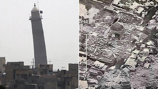 Image result for Great Mosque of al-Nuri blown up