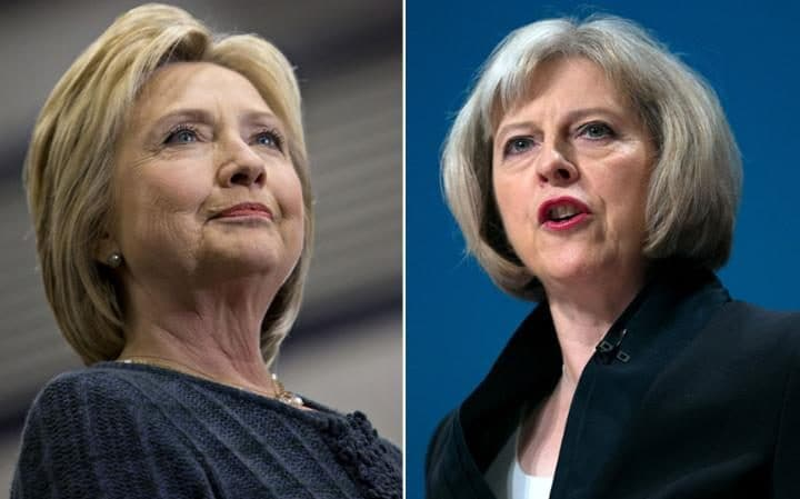 Image result for Theresa May.  Hillary Clinton