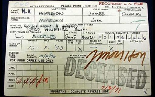 Jim Morrison's 'death benefits' card to be auctioned