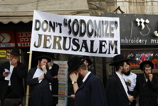 Ultra-Orthodox Jews protest in the Mea Shearim Orthodox neighbourhood of Jerusalem