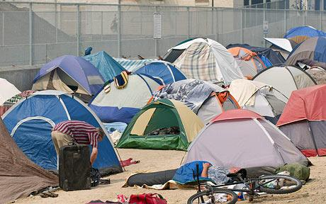 The tent city that recently sprung up next to the homeless shelter in downtown Reno, Nevada