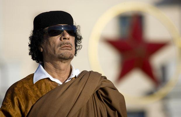 Libyan leaderColonel Gaddafi attends a wreath-laying ceremony in Victory Square in Minsk, Belarus