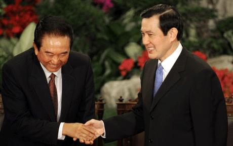 Taiwan democratically elected President Ma Ying-jeou (right) made history when he became fisrt leader of the island to meet a senior Chinese leader science the end of the Chinese civil war in 1949.