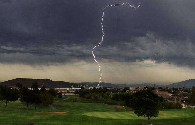 A lightning strike at the Southern California Golf Association course in Temecula. A storm caused a delay at the CIF/SCGA championship. A woman was hit and killed by lightning as she stood outside a home in Fontana, California